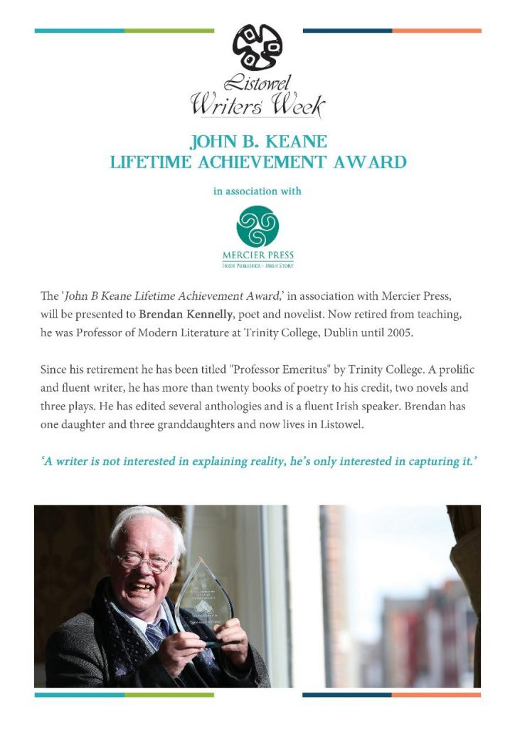 Brendan Kennelly Lifetime Achievement Award